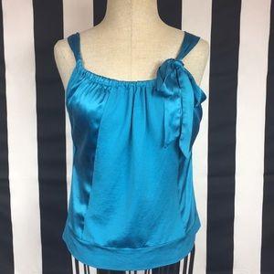 Ann Taylor blue blouse with bow sz Medium